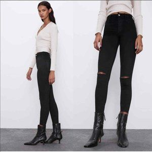 ZARA WOMAN Black High Rise Jeans 2 XS Raw Hem High Waisted Busted Ripped Knee
